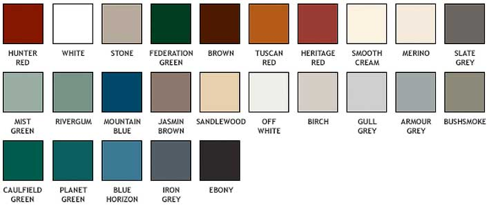 Available seamless aluminum gutter colors (swatches).